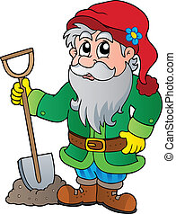 Cartoon garden dwarf - vector illustration.