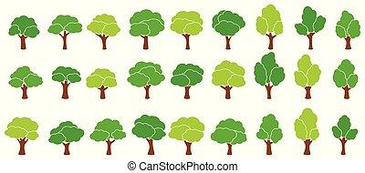 Cartoon garden green trees