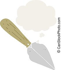 cartoon garden trowel and thought bubble in retro style