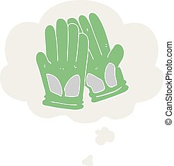 cartoon garden work gloves and thought bubble in retro style