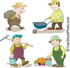 Cartoon gardeners work: carries a sack, carries empty trolley, carries a bucket and a rake, with the harvest of vegetables. Vector