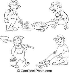Cartoon: gardeners work, outline - Cartoon: gardeners work: ...