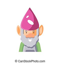 cartoon gardening gnome icon, flat detail style