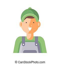 cartoon gardening man icon, flat detail style