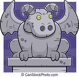 A happy cartoon stone gargoyle perched on a ledge.