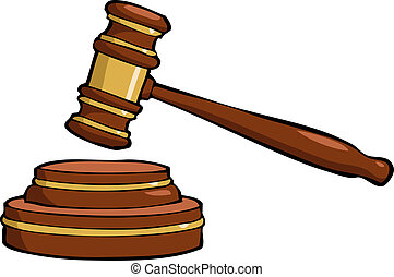 Cartoon gavel - Gavel on a white background vector...