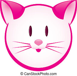 Cartoon gay pink kitty. Illustration for design on white...