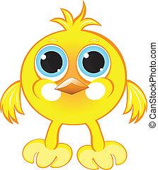 Cartoon gay yellow chicken