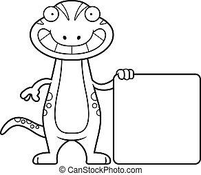 Cartoon Gecko Sign