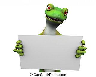 Cartoon gecko with sign.