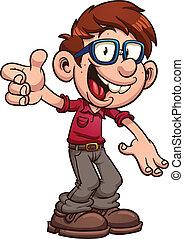 Cartoon geek - Cartoon nerd or geek. Vector clip art...