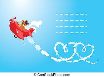 cartoon., gekke , vliegenier, beer, teddy