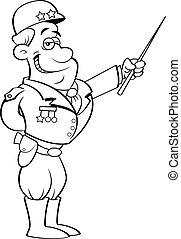 Cartoon general in a uniform pointing