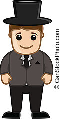 Cartoon Gentleman Character Vector