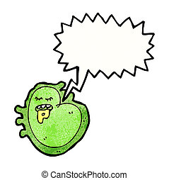 cartoon germ with speech bubble