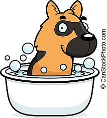 Cartoon German Shepherd Bath - A cartoon illustration of a...