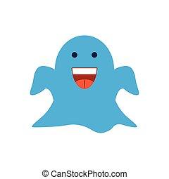 cartoon ghost, flat style icon