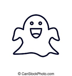 cartoon ghost, line style icon
