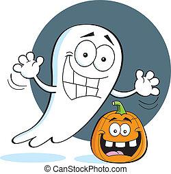 Cartoon ghost with a pumpkin - Cartoon illustration of a...