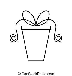 Cartoon Gift Box Stroke Clipart - Cartoon Comic Gift Box ...
