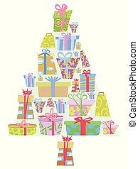 cartoon gift boxes Christmas tree