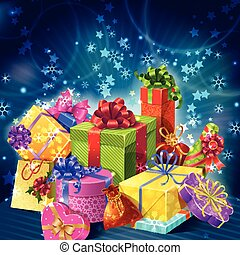 Cartoon Gifts Boxes Holiday Composition