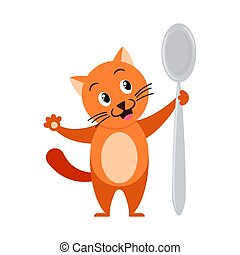 Cartoon ginger cat with big spoon. Illustration for kids.
