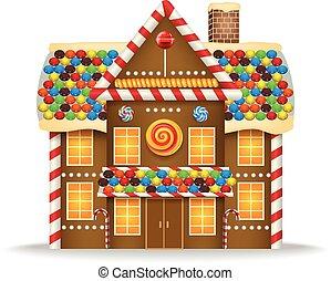 Cartoon gingerbread house - Vector illustration of Cartoon...