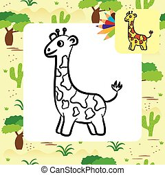 Cartoon giraffe. Coloring page
