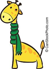 Cartoon giraffe in a green scarf set on isolated white background viewed from the side vector or color illustration