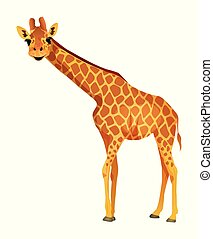 Cartoon giraffe isolated on a white background. Vector illustration.