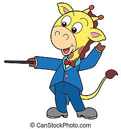 Cartoon Giraffe Music Conductor - Cartoon giraffe music...