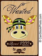 Cartoon Giraffe Pirate Wanted Poster