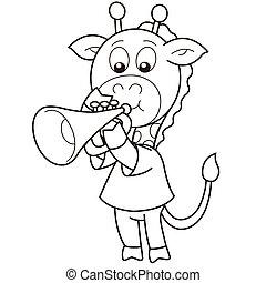Cartoon Giraffe Playing a Trumpet - Cartoon giraffe playing...