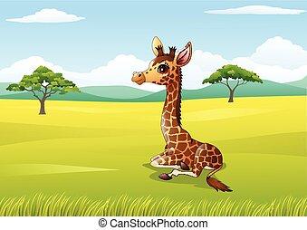 Cartoon giraffe sitting in jungle
