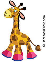 giraffe toy for babies and little kids, cartoon image isolated on white background