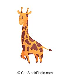 Cartoon giraffe. Vector illustration on white background.