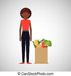cartoon girl afroamerican grocery bag vegetables vector...