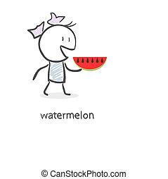 Cartoon girl and watermelon