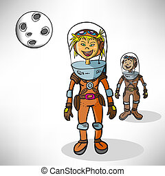 Cartoon girl astronaut