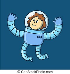 Cartoon girl astronaut in spacesuit floating in space, funny character. Flat vector illustration.