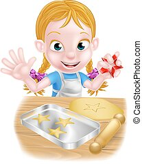 Cartoon Girl Baking