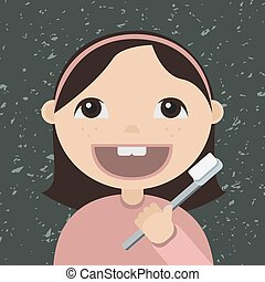 Cartoon girl brushing teeth