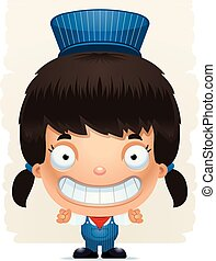 Cartoon Girl Conductor Smiling - A cartoon illustration of a...