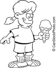 Cartoon girl eating an ice cream co - Black and white...