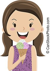 Cartoon girl eating ice cream cornet, vector