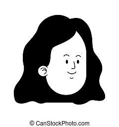 cartoon girl face icon