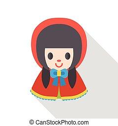 cartoon girl flat icon