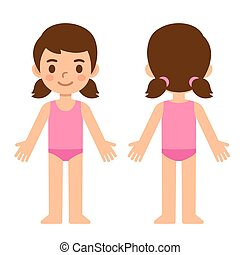 Cartoon girl front and back