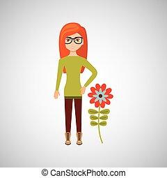 cartoon girl garden cute flower design